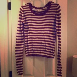 Sweaters - Maroon and cream striped sweater